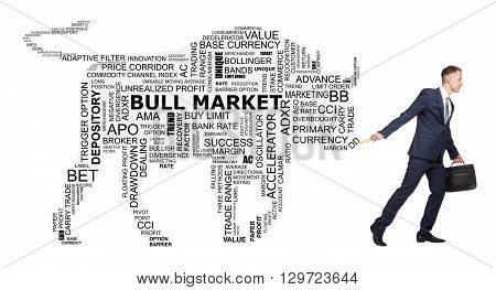 Conceptual cloud of word trend of stock exchange, as the silhouette of a big bull that follow for the young broker.