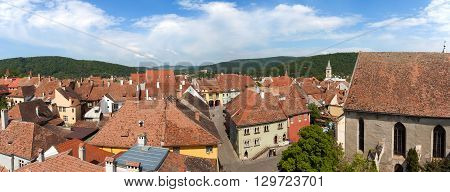 Sighisoara - Aerial view of the old city