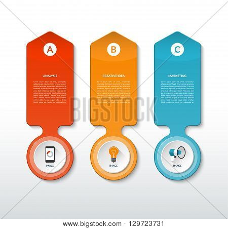Vector abstract template for infographics. Modern infographic banner with 3 steps, options, parts, tabs. Business concept with three vertical arrows. Can be used for workflow layout, chart, web design