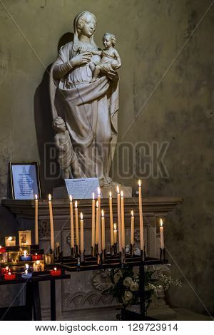 Aix-en-Provence, France - May 22: It is a sculpture of the Virgin and Christ which is in the Cathedral of the Holy Saviour May 22, 2015 in Aix-en-Provence, France.