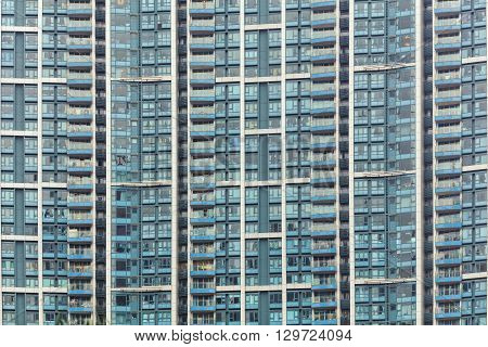 Abstract close-up view of modern populated residential facade