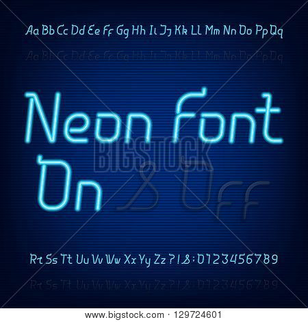 Neon alphabet font. Two different styles. Lights on or off. Blue neon lowercase, uppercase letters and numbers.