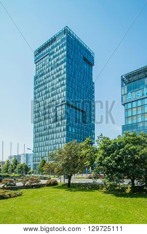 Zagreb, Croatia, May 8th 2016: Modern business tower in Vukovarska street in Zagreb, Croatia, headquarter of Zagreb stock exchange