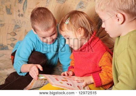 children read book on sofa in the wooden room 4