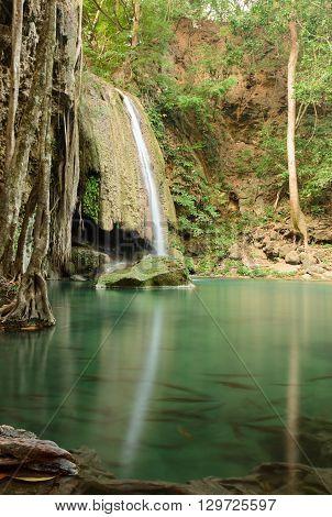 Erawan waterfall in morning in dry season at Erawan national park in Kanchanaburi Thailand on February 22 2016.