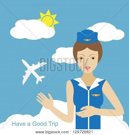 Stewardess woman smiling and pointing to the sky where the plane is flying icon. Colored vector illustration. Have a good trip concept