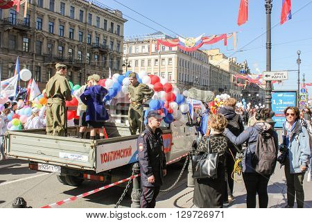 St. Petersburg, Russia - 1 May, People in military uniform in the bodywork, 1 May, 2016. Day festive demonstration on the Nevsky Prospect in St. Petersburg, the first of May.