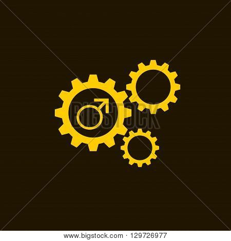 Flat icon of gears and vector outlines icons of gold gender male symbols isolated on black background. Man sign.