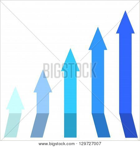 Blue color of graph rising up indicating positive vibes and direction in business aspects.Growing bars graphic icon