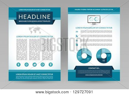 Vector design template for brochure, flyer, leaflet, booklet, annual report, poster. A4 size. Front and back page