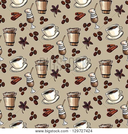 Seamless pattern background. Cup of hot espresso, coffee to go, coffee beans, cinnamon and banyan. For fabric packaging, wrapping paper, menu, coffee shop, cafeteria and restaurant interior design.