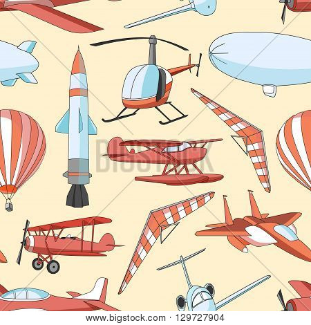 Aviation Icons Set pattern. Vector illustrations, colored objects isolated on white background