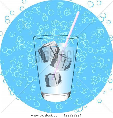 Blue Drink.Water glass whte ice. Vecktor illustration.