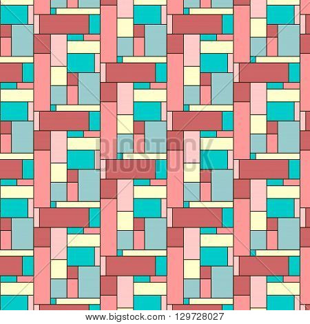 Squares pattern in abstract style. Nice colourful tiles. Seamless