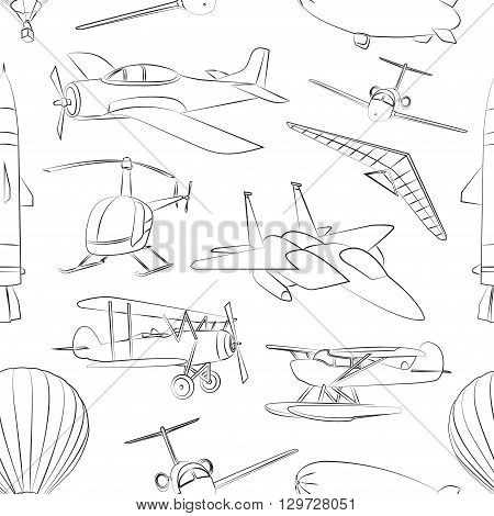 Aviation Icons Set pattern. Vector illustrations, objects isolated on white background