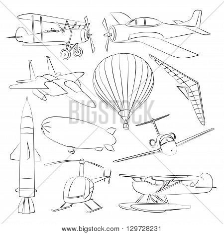 Aviation Icons Set. Vector illustrations, objects isolated on white background
