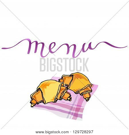 Calligraphy menu card with orange croissants on pink table-napkin. Handwritten calligraphy menu sign for restaurant and cafewedding menu, party, birthday celebration. Vector illustration.