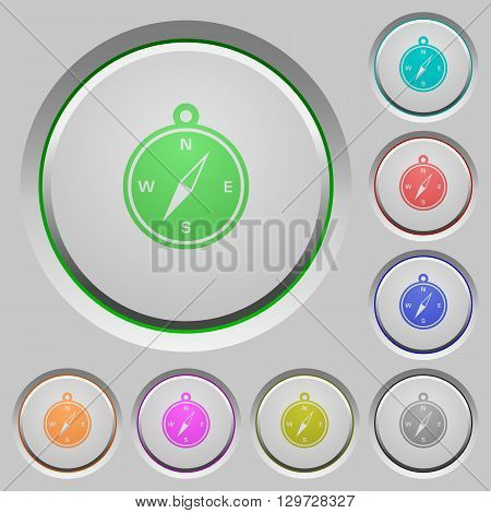 Set of color compass sunk push buttons.