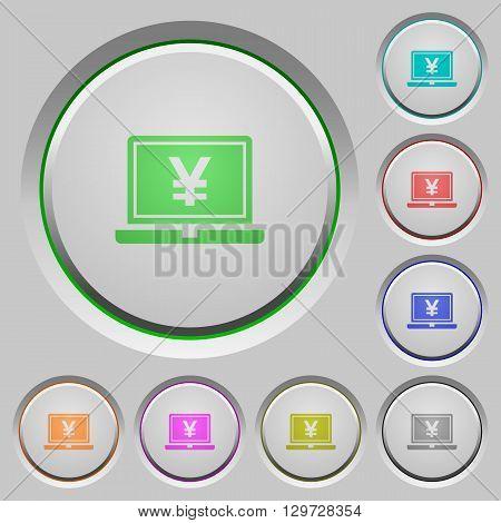 Set of color Yen laptop sunk push buttons.