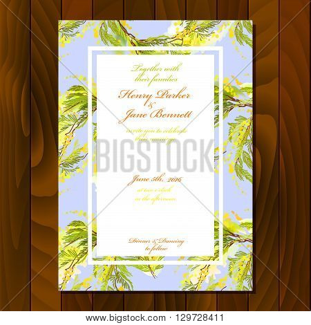 Floral wedding invitation card with watercolor style branches and yellow flowers and leaves. For wedding, party birthday celebration. Vertical blue floral card on wooden texture background.