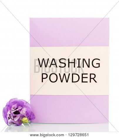 A purple box with washing powder and flower isolated on white background