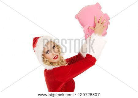 Santa woman holding a piggy bank
