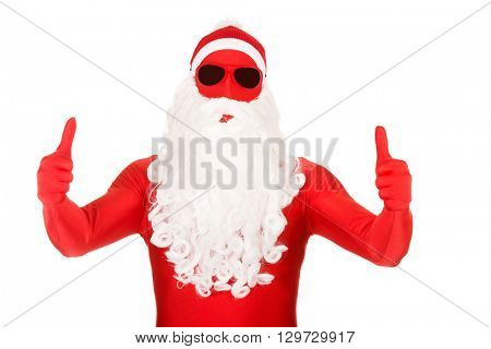 Portrait of santa in latex clothing with thumbs up