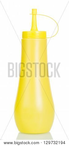 Yellow tube with mustard isolated on white background