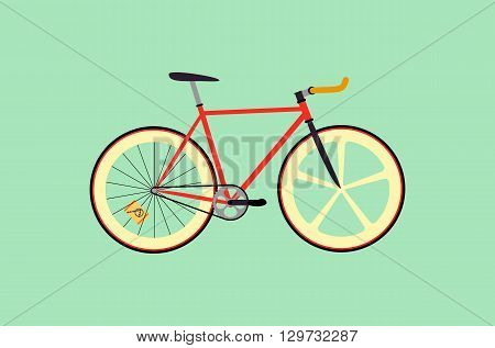 Fixed gear bicycle vector flat design illustration