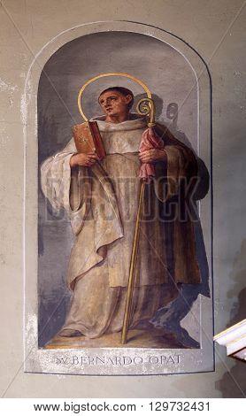 ZAGREB, CROATIA - SEPTEMBER 14: Saint Bernard of Clairvaux, fresco in the Basilica of the Sacred Heart of Jesus in Zagreb, Croatia on September 14, 2015.