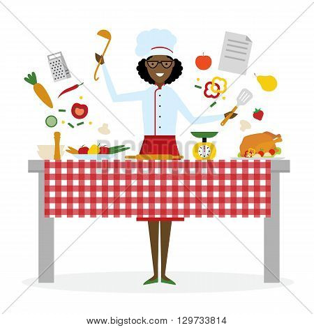 Female african american chef cooking on pink background. Restaurant worker preparing food. Chef uniform and hat. Table and cafe equipment.