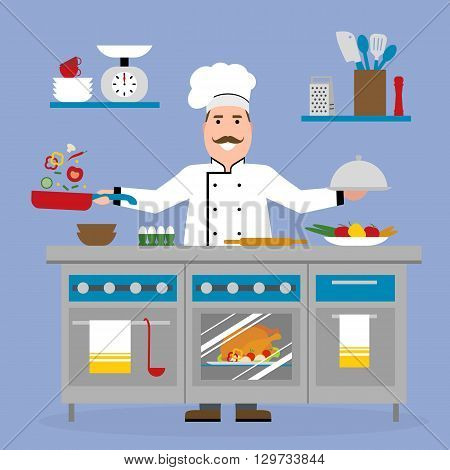 Male chef cooking on pink background. Restaurant worker frying vegetables and holding a meal. Chef uniform and hat. Table and cafe equipment.