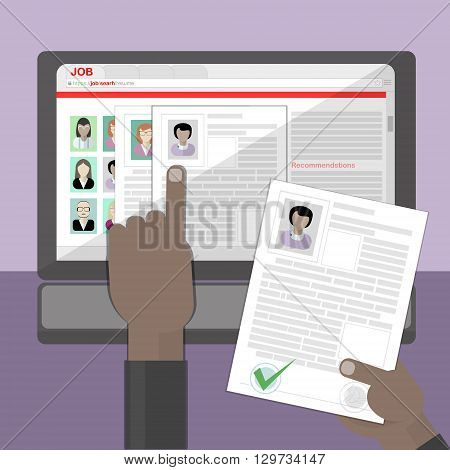 Find resume and hiring. Finding staff on internet. Choose candidate and analyze cv. Professional company resources.