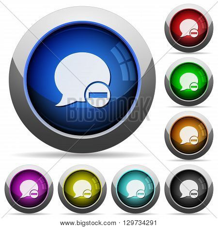 Set of round glossy Delete blog comment buttons. Arranged layer structure.