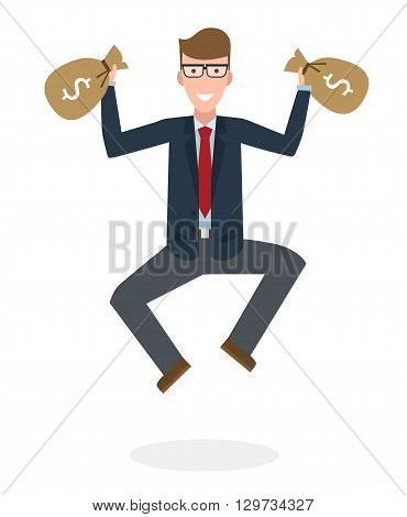 Businessman jumping in the air with money bag on white background. Concept of victory, business success and celebrating. Isolated happy caucasian businessman is excited.