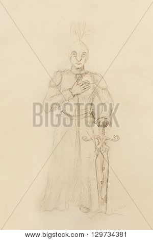 Drawing of knight with sword, pencil sketch on paper