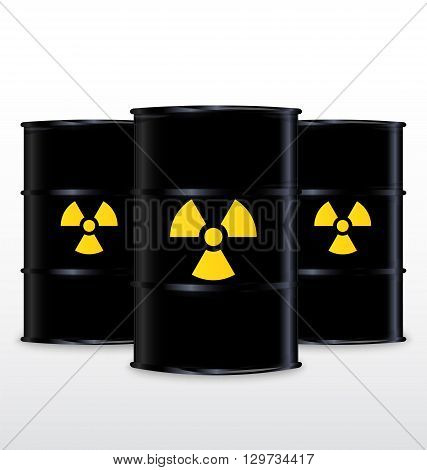 Black Barrel With Yellow Radioactive Symbol Isolated On White Background