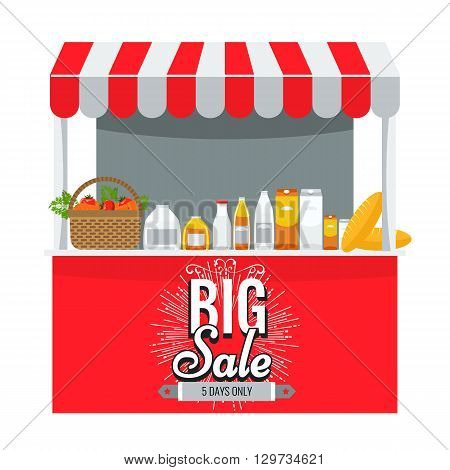Shop grocery and shopping concept. Store booth with striped awning fruits vegetables drinks bread and basket with full of organic food on the display shelf. Big sale title on it.