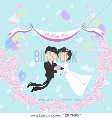 Wedding couple flying in the air between clouds. Marriage kiss. Birds holding banner. Happy young family. Honeymoon.