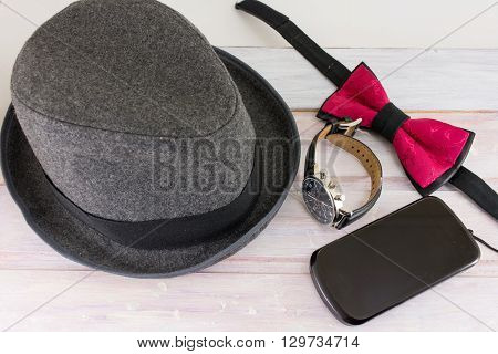Male accessories for possible combination. Fashion abstract