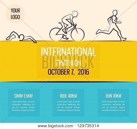 Vector illustration triathlon, flat design. vector illustration