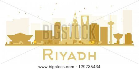 Riyadh City skyline golden silhouette. Vector illustration. Simple flat concept for tourism presentation, banner, placard or web site. Business travel concept. Riyadh isolated on white background