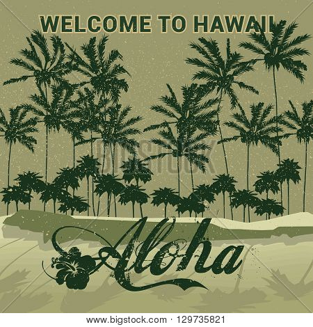 An abstract illustration of the Hawaii with the text Aloha meaning hello or goodbye