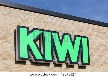Mailing, Denmark - May 13, 2016: Kiwi logo on a wall. Kiwi is a discount store chain in partnership with NorgesGruppen that has 630 retail outlets in Norway, and 102 in Denmark.