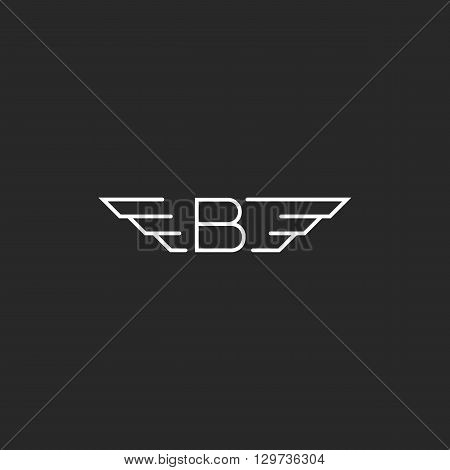 Winged Letter B Logo, Wings Monogram Emblem, Black And White Graphic Thin Line Design Element