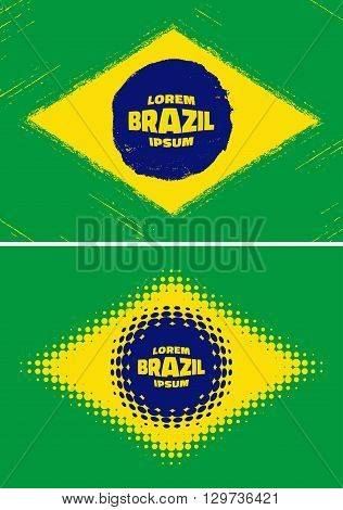 Set Brazil Flags. Grunge, halftone Brazil flags 2016. Vector modern Brazil colorful flags. Vector illustration