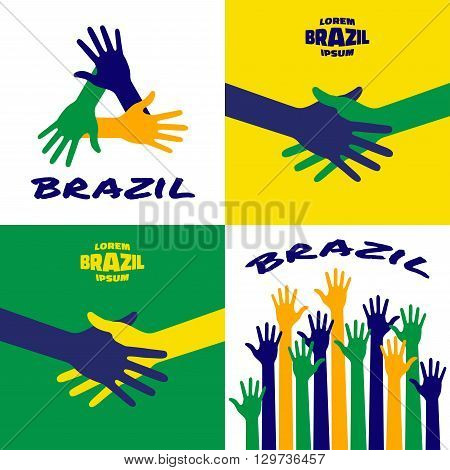 Set of colorful up hands icons using Brazil flag colors 2016. Hands vector Icon, logo, emblem using Brazil flag colors. Hand shake logo using Brazil background flag colors. Vector illustration.