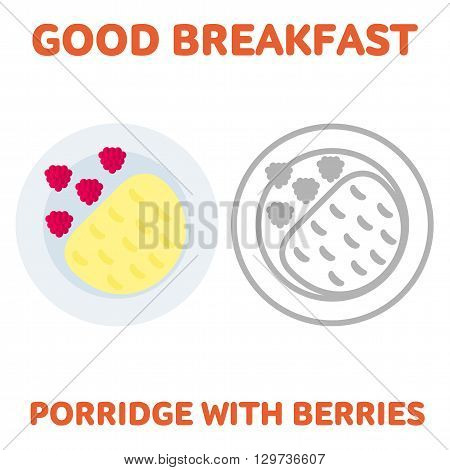 Vector flat and line icon oatmeal porridge with raspberries. Homemade crunchy granola. Hot and healthy breakfast diet food. Web design web icon food menu. Isolated on a white background.