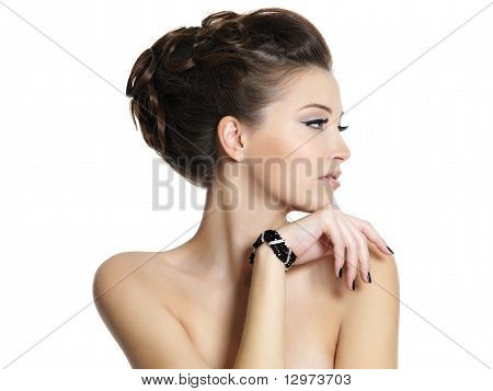 Portrait Of  Beautiful Girl With Curly Hairstyle