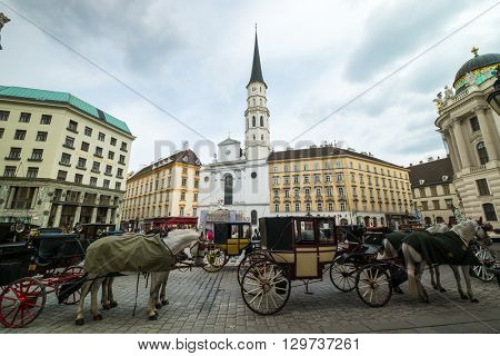 VIENNA - APRIL,24: Fiakres in old city centre on April 24, 2016 in Vienna
